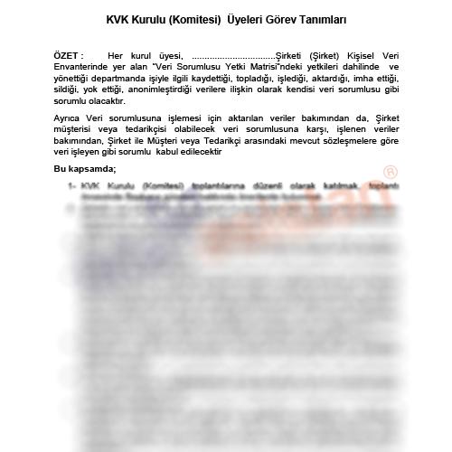 Örnek KVKK  Komitesi veya Kurulu Üyeleri  Görev Tanımı