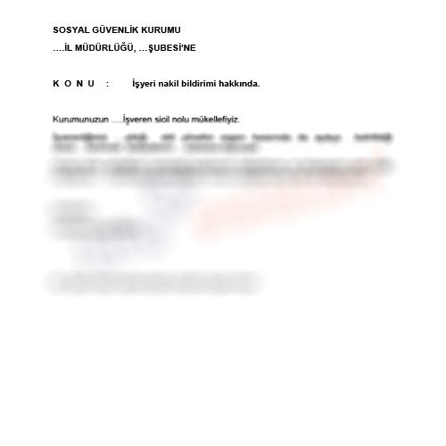 SGK İşyeri Nakil Bildirimi