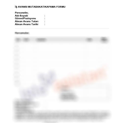 İş Avansı Kapama Mutabakat Formu